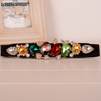 LAISIDANTON Colorful Gemstone Women Belt Jeweled Elastic Lady Belts Girdle Korean Crystal Femme Ceinture Elastic Waistband