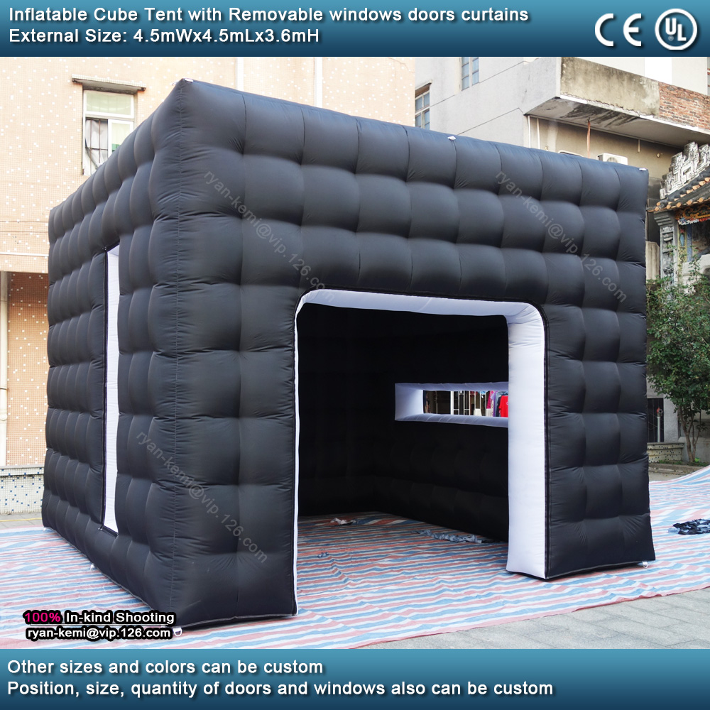 4.5mWx4.5mLx3.6mH Black white inflatable cube tent outdoor portable events room shelter for trade show party photo booth 2