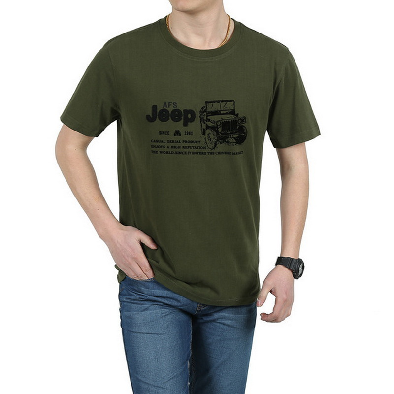 Elastic Cotton T Shirt Men Summer <font><b>AFS</b></font> JEEP Brand Clothing Casual 3D T-Shirts Army Tactical T-Shirt Military Style <font><b>Tshirt</b></font>,UMA012 image