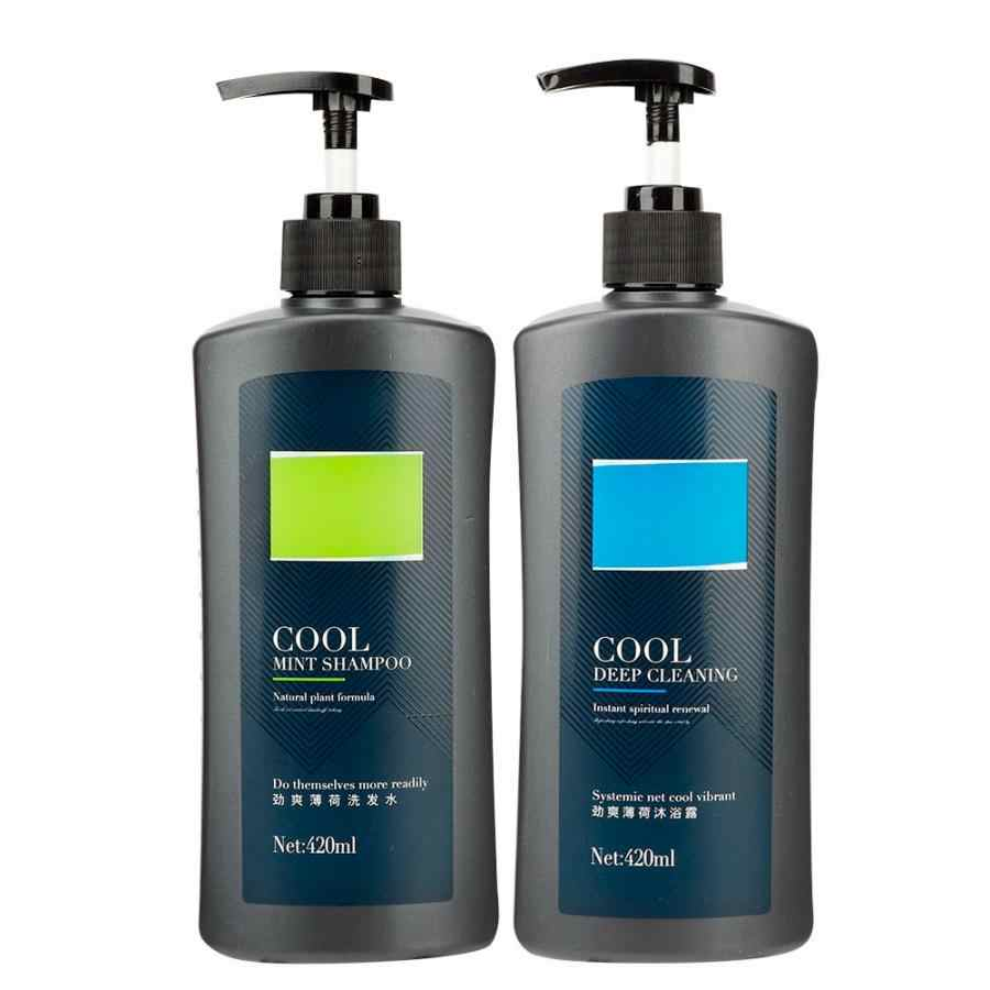 420ml Mint Cool and Refreshing Men's Hair Shampoo Anti-Dandruff Anti-Pruritic Oil Control Hair Shampoo Body Shower Gel