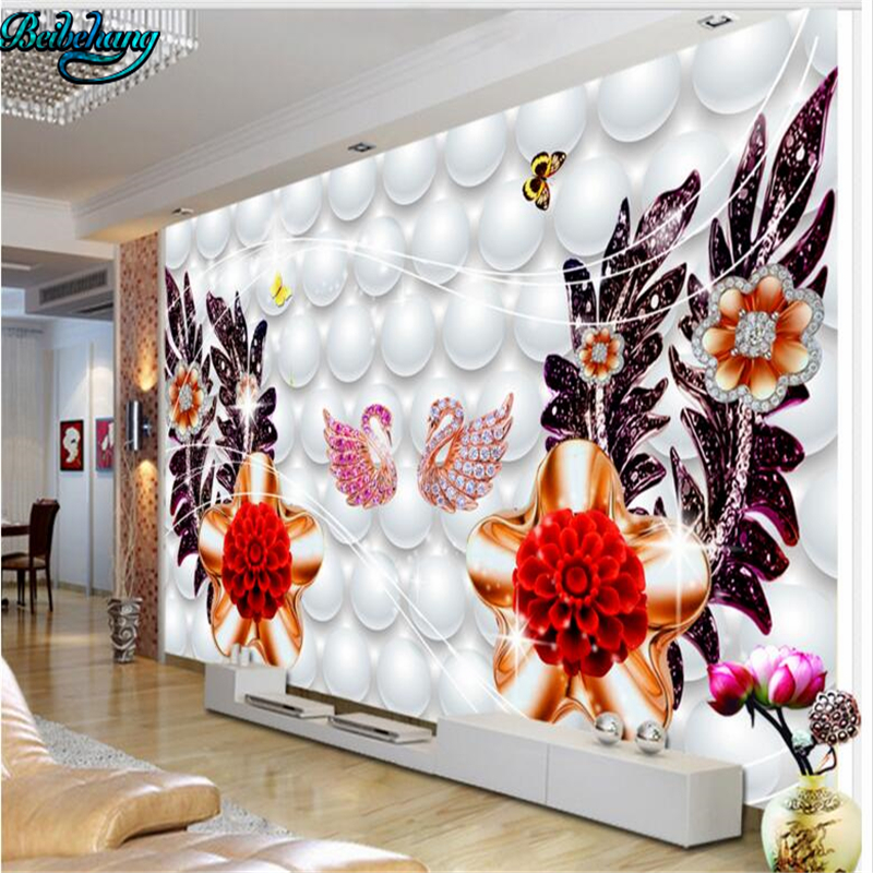Large 3d European Pearl And Rose Jewelry Tv Background: Beibehang High Definition Pearl Luxury Jewelry TV Backdrop