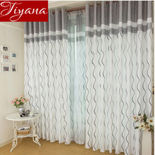 Striped Curtains Printed Tulle Window Panel Sheer Voile For Modern Simple Living Room Bedroom Curtains Custom
