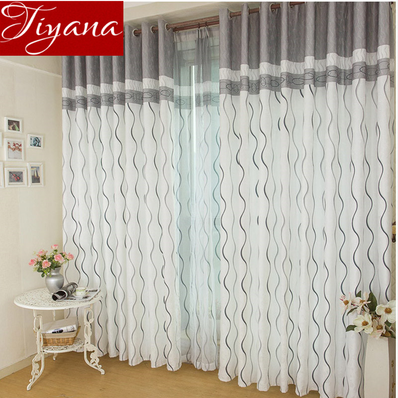 Striped font b Curtains b font Printed Tulle Window Panel Sheer Voile For Modern Simple Living