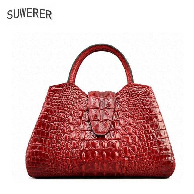 SUWERER novo sacos de Moda Crocodilo padrão de Couro Genuíno das mulheres bolsas de luxo mulheres sacos de designer bolsas de couro das mulheres