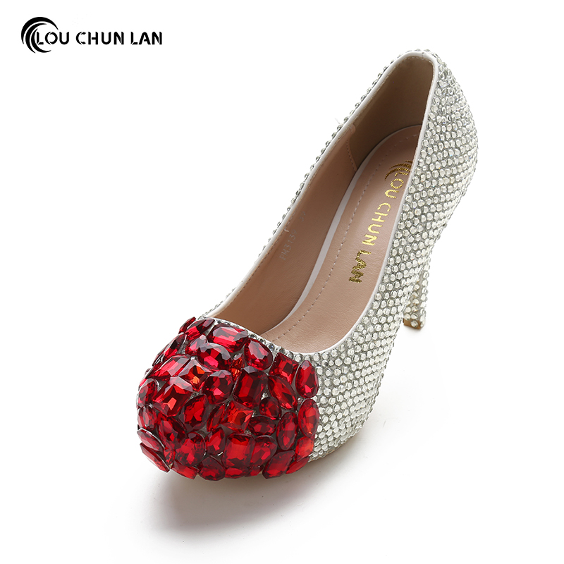 Women Pumps Shoes Super High Heels Wedding Shoes Elegant Red and silver Rhinestone Round Toe Shoes Free Shipping Party shoes siketu 2017 free shipping spring and autumn women shoes fashion sex high heels shoes red wedding shoes pumps g107