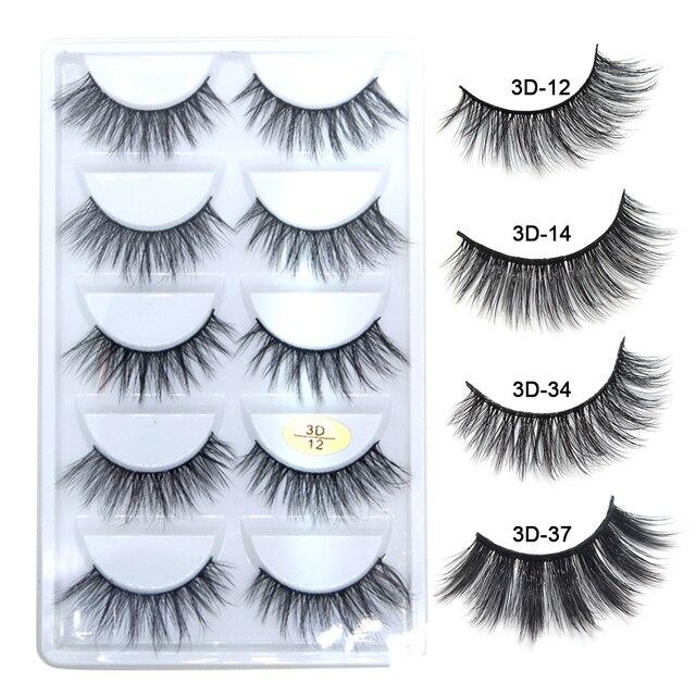 HandMade Mink Eyelashes Makeup 3D Mink Lashes Natural False Eyelashes Long Eyelashes Extension 5 Pairs Fake Eyelash