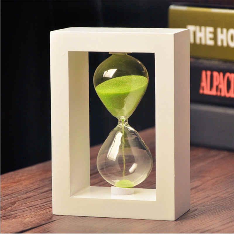 10 minutos ampulheta de vidro sandglass areia relógio temporizadores casa decoração de mesa rosa azul verde areia temporizador decoração com moldura de madeira