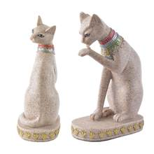 Sandstone Ancient Egyptian Mau God Cat Statue Craft Sculpture Hand Carved Figurine Home Decor Miniature 40(China)