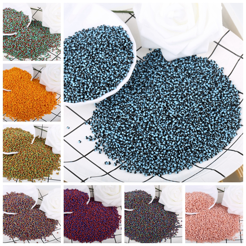 Crystal-Tricolor-Beads Necklace Glass-Seed-Beads Jewelry-Making Round-Hole Handmade Diy