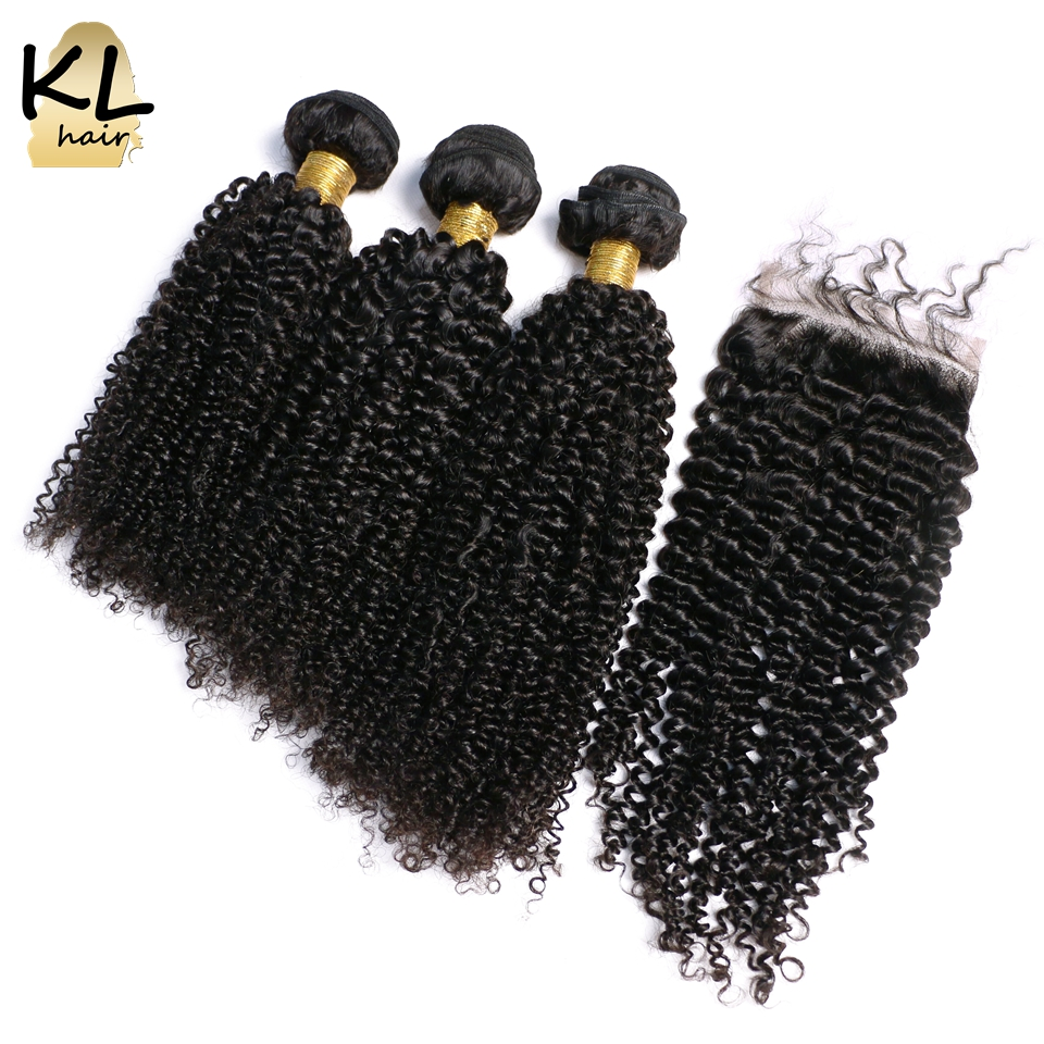 KL Hair Brazilian Kinky Curly Hair With Closure 100 Remy Human Hair 3 Bundles Bleached Knots