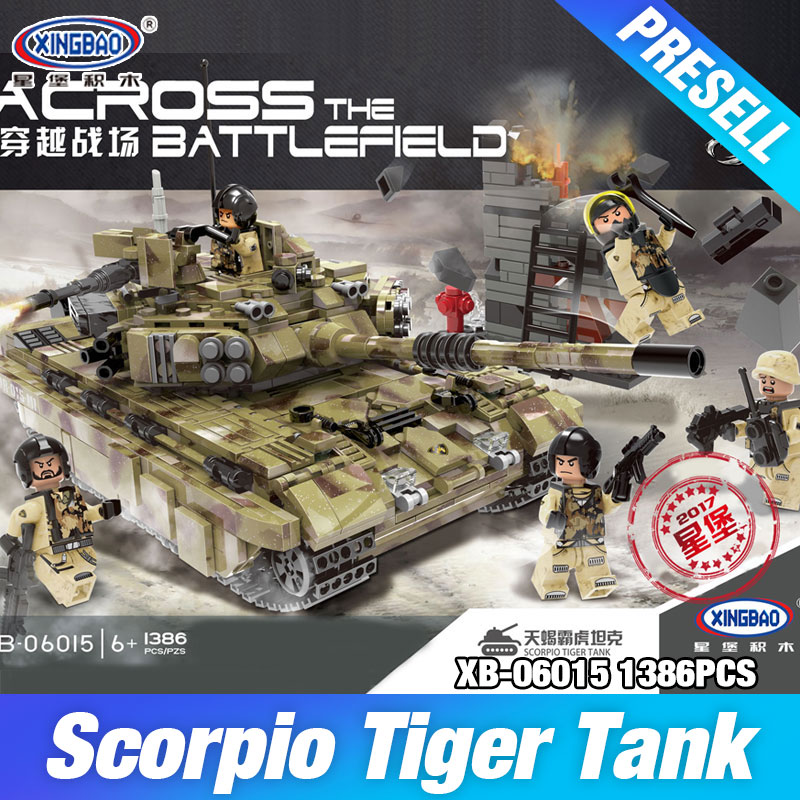 XINGBAO 06015 The Scorpio Tiger Tank Set DIY Genuine Military Series Building Blocks Bricks Toys Educational Christmas's Gifts zk15 4500lm led flashlight torch cree xm l2 t6 5 modes zoomable waterproof torch lamp with rechargeable 18650 5000mah battery