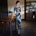 Fashion Velvet Cheongsam Wholesale Long Chinese Traditional Dress Printing Flower Half Sleeve Qipao High Slits Evening Dress