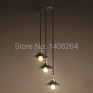 Edison Vintage Style Industrial Disk (22CM) 3 light Pendant Ceiling Lamp For Restaurant Cafe Bar Store Club Coffee Shop Decor 3 lights 22cm rh loft american vintage ceiling lamp pendant light e27 edison bulb cafe bar coffee shop club store restaurant