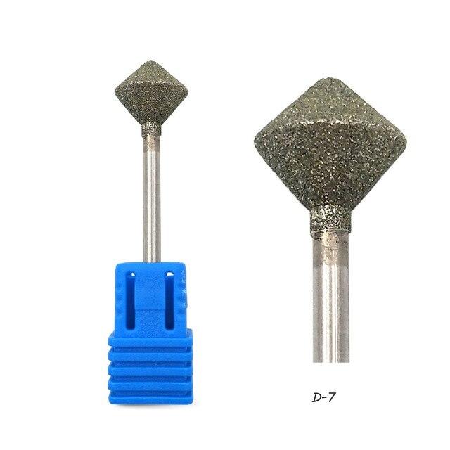 """HYTOOS 10mm Rhombus Diamond Nail Drill Bit 3/32"""" Rotary Burr Manicure Cutters Electric Drill Accessories Nail Mills Tools-D-7 1"""