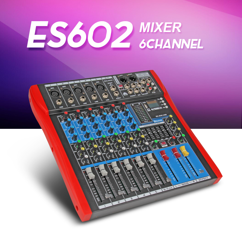 Freeshipping Xtuga ES602 USB Professional Stage Audio Mixer Built-in Digital Effect Mixer Music Mixer 7 Channel Mixer LCDdisplay
