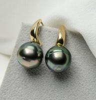 free shipping>>>>noble jewelry 10 12mm Peacock Green Genuine Tahitian Pearl
