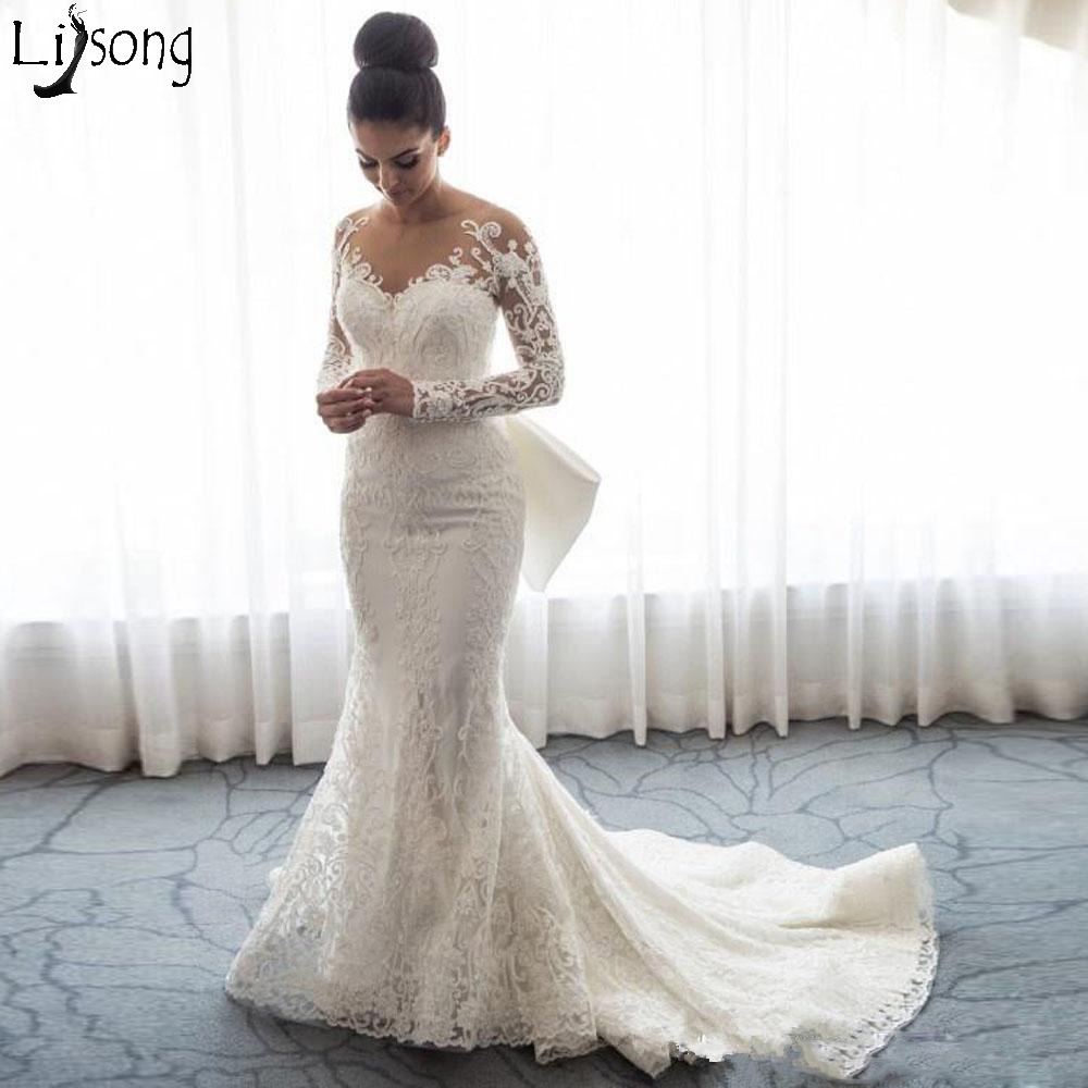 Full Lace Wedding Dresses Spring Autumn Sheer Neck Long Sleeves Bridal Dress With Bow Back Covered Buttons Mermaid Wedding Gown