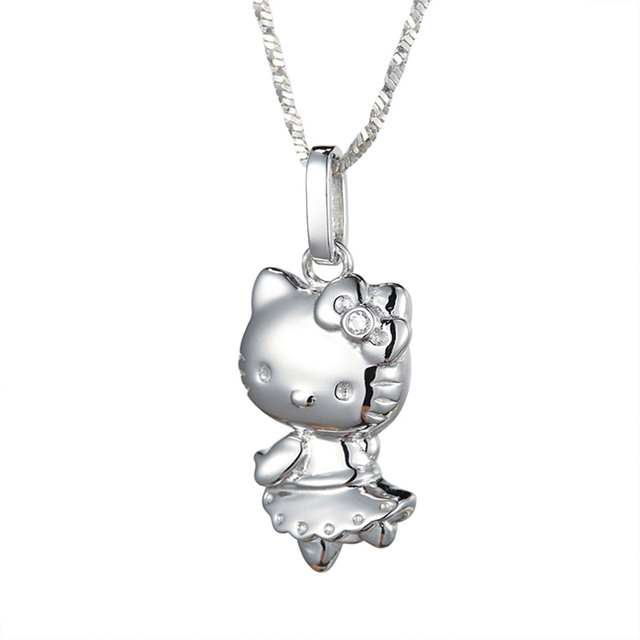 Hello Kitty Pendant ALP Hello Kitty Pendant Necklace 925 Sterling Silver Cat Pendant Necklaces &  Pendants Cute Women Necklace 2016