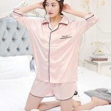 Summer Short Sleeve Sexy Robes Women Pajamas Shorts Sleepwear Ladies Satin Sleepwear Adultes Pyjamas M170221