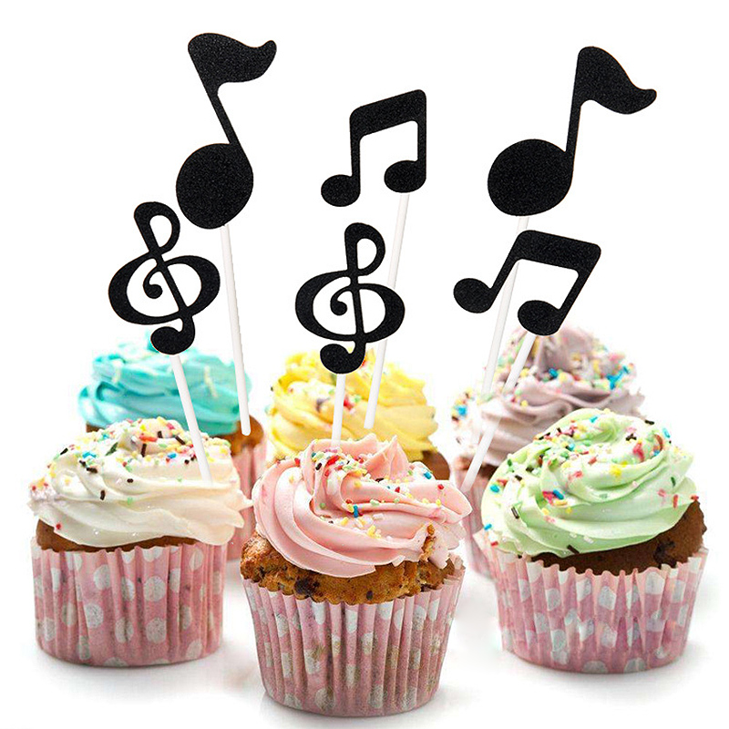 30 Pcs Music Notes Themed Cupcake Topper Paper Cake Inserts Card