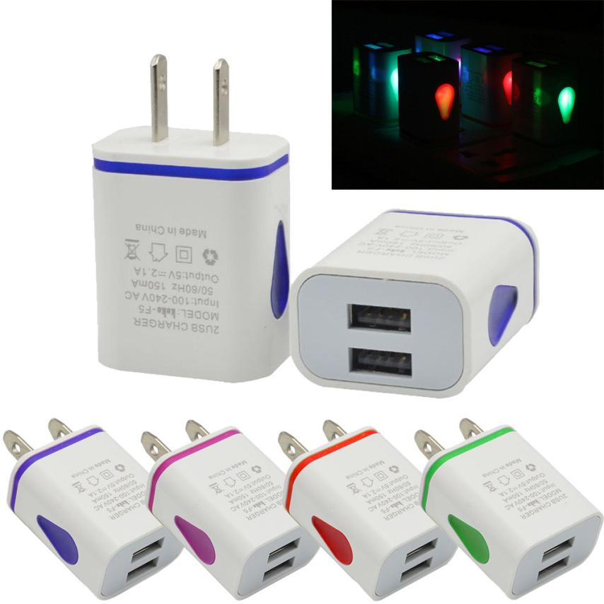 HL LED USB 2 Port Wall Home Travel AC Charger Adapter For S7 US Plug AUG 16
