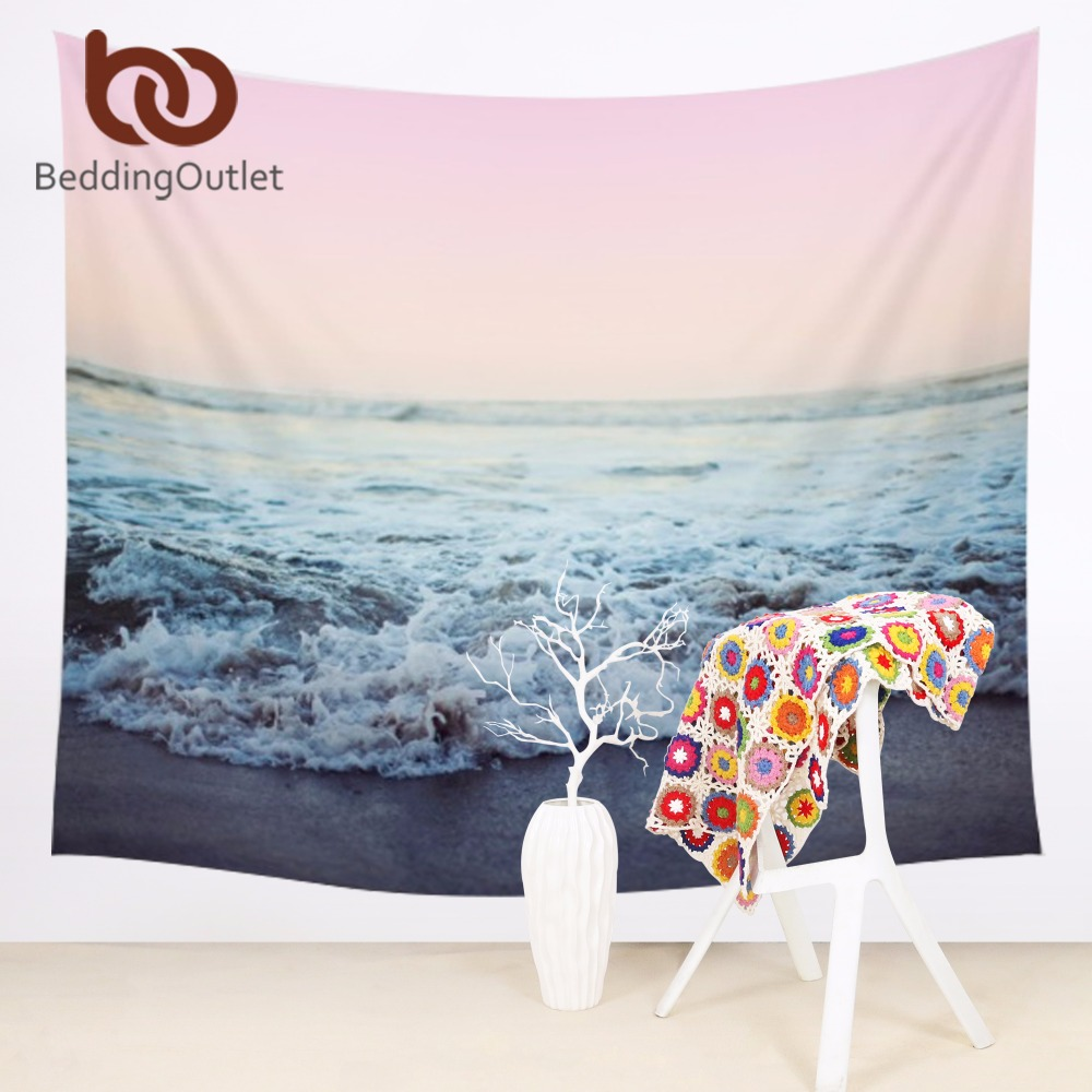 Beddingoutlet Beach Tapestry Sea With Spindrift Decorative Wall Hanging Tapestry Polyester Soft Wall Carpet 145x145cm Clearance