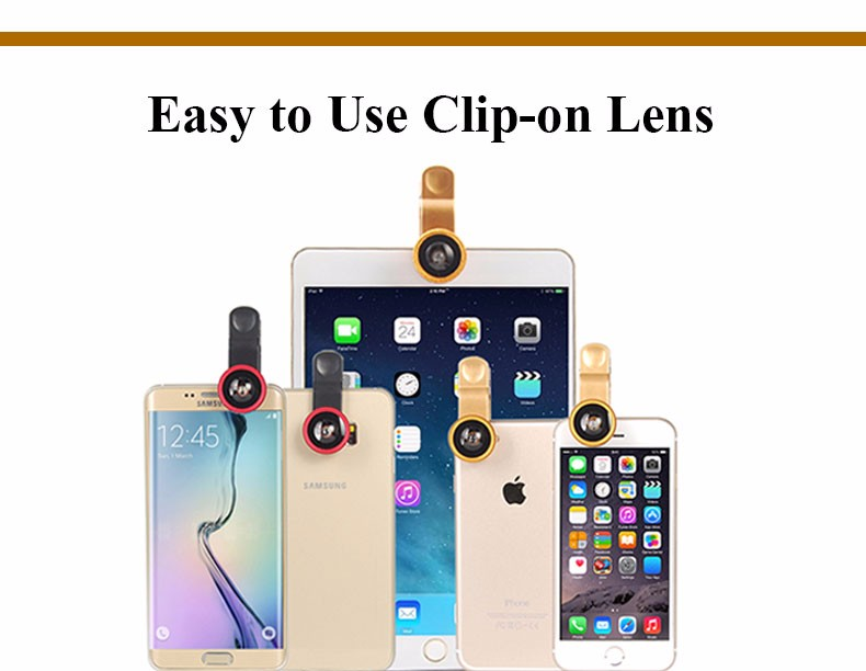 New Fish Eye lens,Wide Angle + Clear Macro Lens For Iphone 5s 6 7 Universal 3 in 1 Phone Camera Len For Sansung Huawei Sony HTC 12