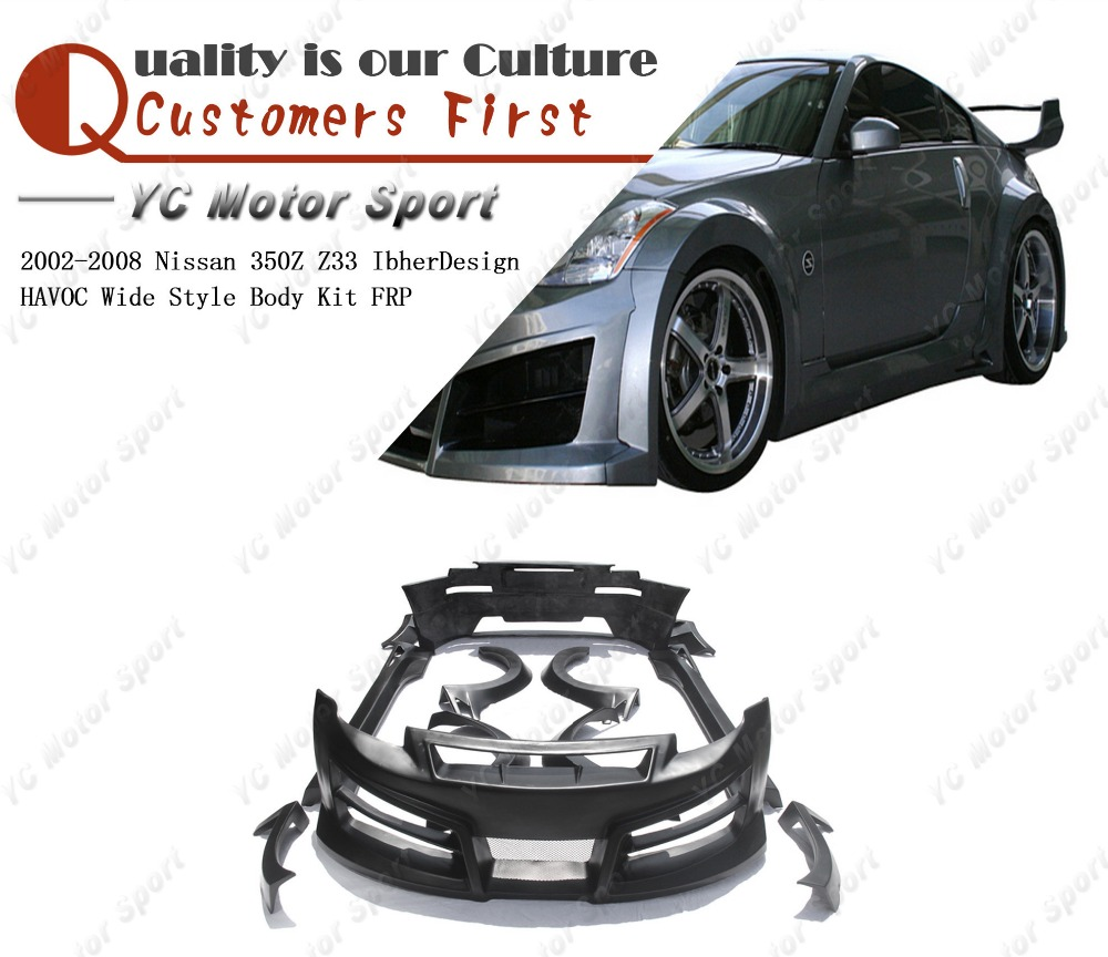 FRP Fiber Glass IbherDesign HAVOC Wide Style Bodykits Fit For 2002-2008 350Z Z33 Body Kit Bumper Side Skirts Fender Flares image