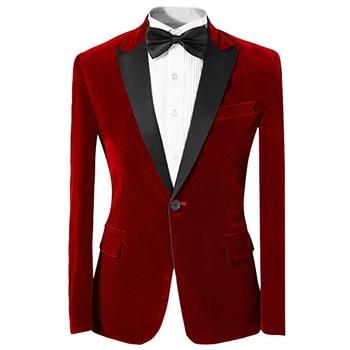 Mens Velvet Slim Fit Peak Lapel Jacket Formal Casual Coat One Button Groomsman Evening Prom Blazer Mens Business Daliy Suit Coat