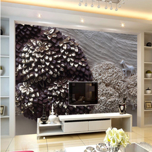 beibehang 3D landscape painting relief plaster wall background custom large fresco green wallpaper
