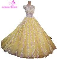 2017 новое бальное платье Кристалл Совок без рукавов со шлейфом Желтый Тюль свадебное платье кружевное свадебное платье Vestido De Noiva