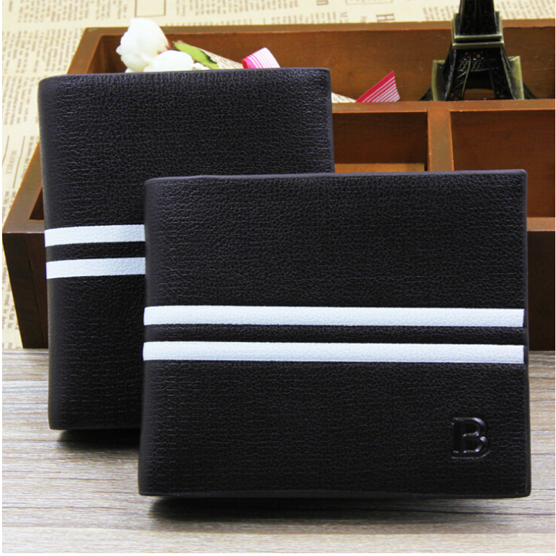 Classic Solid Leather Men's Wallets Purse For Man Striped Designer Male Credit Card Holders