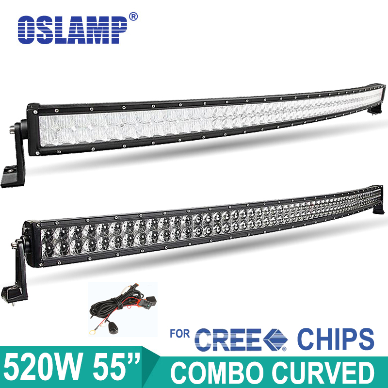 Oslamp 520W 55inch 4D 5D Cree Chip Curved LED Bar for Car ATV SUV Auto Led
