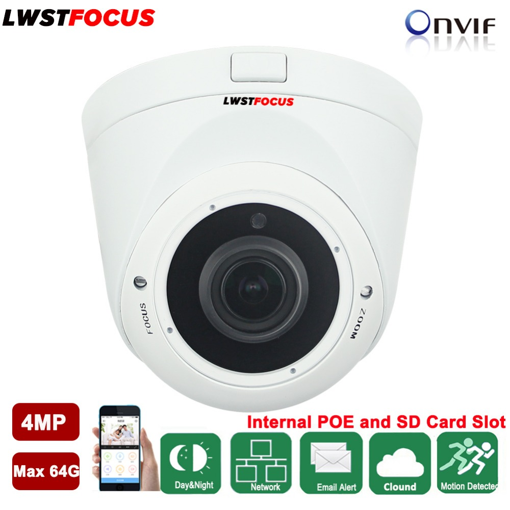 LWSTFOCUS H.265/H.264 4MP IP Camera 2.8mm-12mm Manual Zoom lens IR 30M SD Card POE Network camera Security IP Camera System h 264 265 poe 3mp ip camera outdoor metal vandalproof ir 40meter with hd 4mp 2 8 12mm manual zoom lens cctv webcam web ip cam