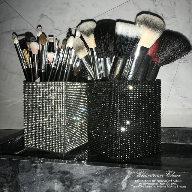 Big Diamond Mermaid makeup brush holder Crystal Rhinestone makeup brush set case makeup brushes organizer container cup cosmetic