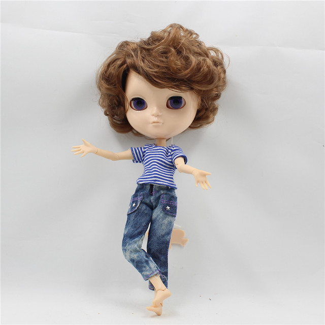 TBL Neo Blythe Male Doll Short Brown Hair Jointed Body