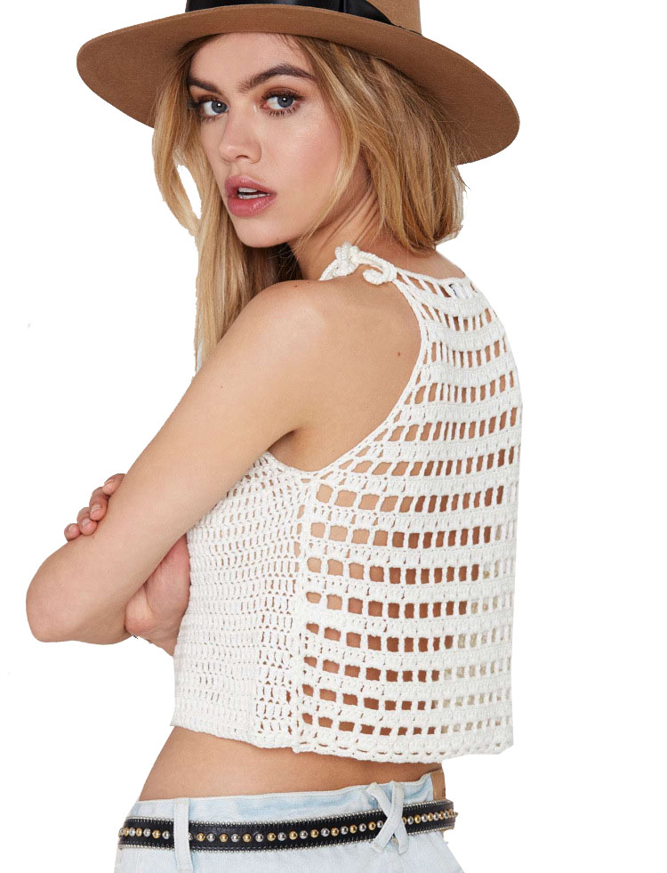 e4f98c2b3a 2016 european style vest sexy halter top female short summer loose bandage  hollow out tank tops crochet crop top strappy braid-in Camis from Women's  ...