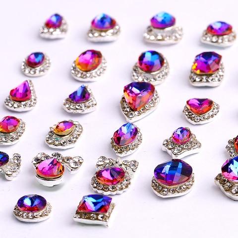 100 pcs 3d de luxo brilhante diamante strass liga arte do prego decoracoes charming moda
