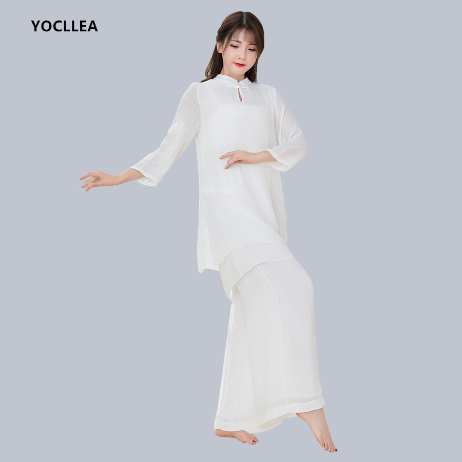 White Cotton Linen Two pieces Women suits sets Loose Casual Tops + Elastic Waist Wide Leg Pants sets Taiji clothings Tang suit