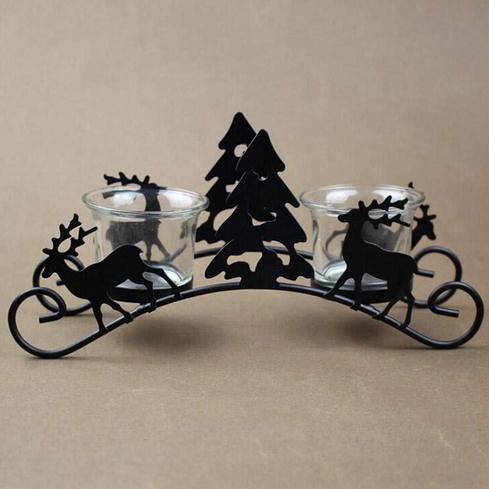 1 قطعة الرجعية الحديد حوامل شموع شجرة عيد الميلاد الغزلان النقل الشمعدان بار ديكور المنزل مع 2 ضوء الزجاج حامل