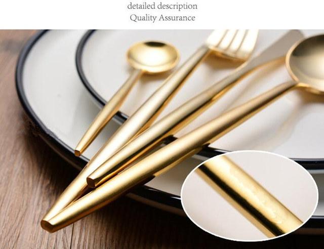 KuBac 2017 New 24Pcs/set Golden Leon Top Stainless Steel Steak Knife Fork Party Cutlery Dinnerware Set Dining appliance