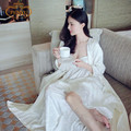 Fast Shipping  Women's Long Robe Royal Beige Sleepwear Embroidery Silk Satin Nightgown Two Pieces Set