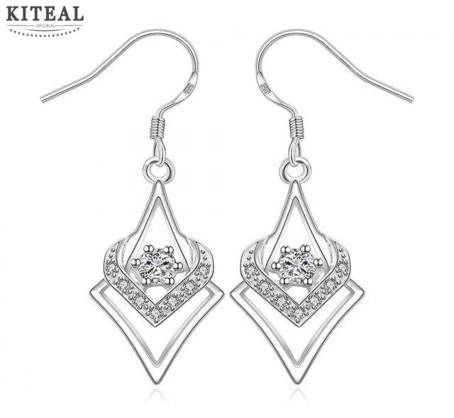 2017 Rushed Plated Water Drop heart crystal Rhinestone Women New Arrival Wholesale Silver Earring,fashion Jewelry,earrings E444