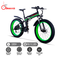 K&J 1000W electric ATV black 26 inch oil brake snowmobile mountain bike mountain bike bicycle aluminum folding e bike