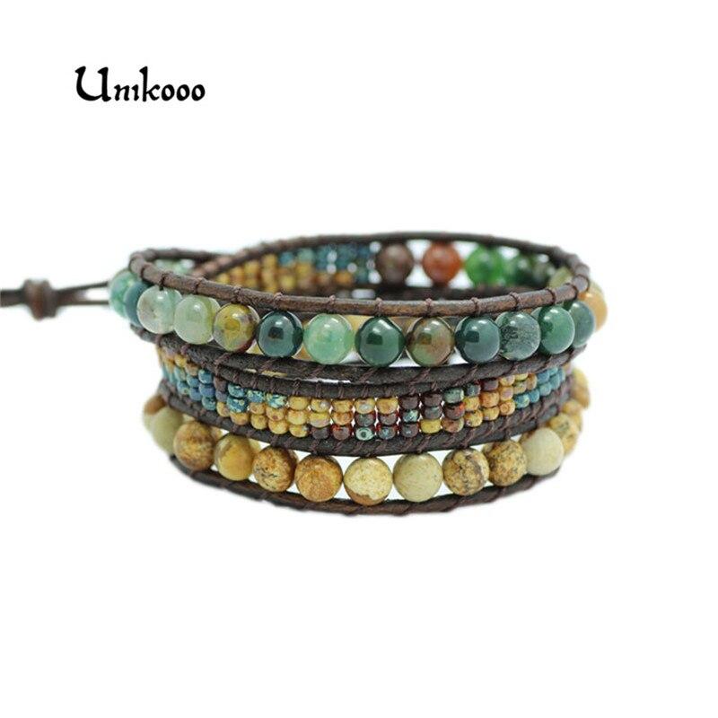Neue Triple Leder Wrap Armband für Frauen Phantasie Stein Handmade Multilayer Tschechische Glas Perlen Leder Seil Schmuck