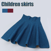Pleated SkirtFall Winter Girl Children High Waist Skirt Princess Flared Skirts Girls Children Pure Color Knitting Kids Skirts