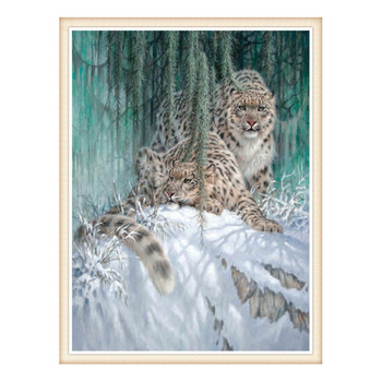 Needlework,DIY DMC 14CT Unprinted Cross stitch,Counted Embroidery Cross-stitch Kits set  Snow Leopards  home made arts Pattern