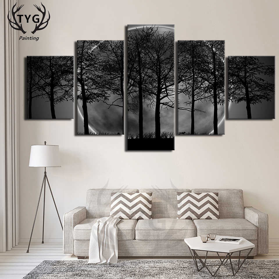 db4467f1d76 Wall Art Pictures Canvas Paintings Home Decor Poster Frames 5 Panel Black  White Moon Night Psychedelic