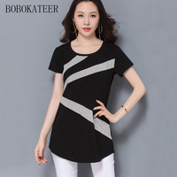 BOBOKATEER Casual Cotton 5xl Plus Size Striped T Shirt Women Print Short Sleeve Loose Black O