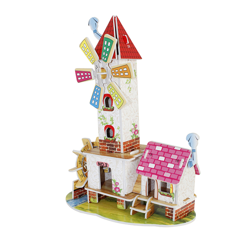 3D Puzzle Diy Building Construction Toys Card Model Building Sets Safe Foam Pink Water Tower Windmill Lovely Room Toys for Girl(China)